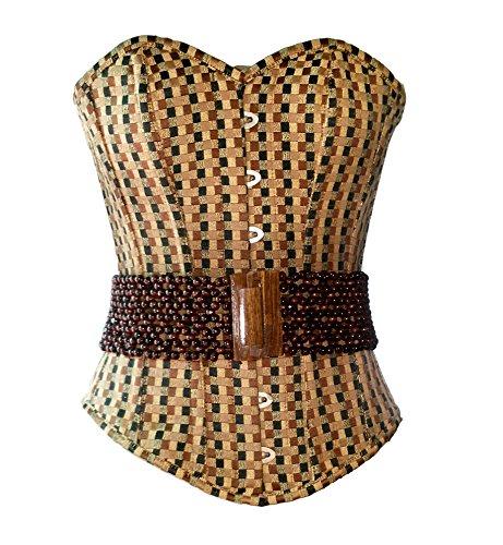 ワゴン空洞パールCotton Brocade Wood Beads Goth Burlesque Waist Training Bustier Overbust Corset