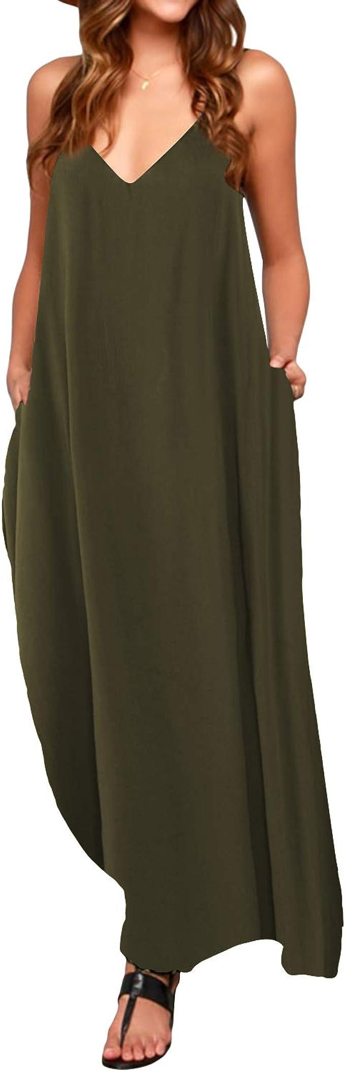 TALLA M. ACHIOOWA Mujer Vestido Elegante Casual Dress Cuello V Sin Manga Playa Tirantes Bolsillos Punto Falda Larga Verde