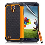 32nd® Shock proof heavy duty dual protection case cover for Samsung Galaxy S4 i9500 + screen protector, cleaning cloth and touch stylus - Orange