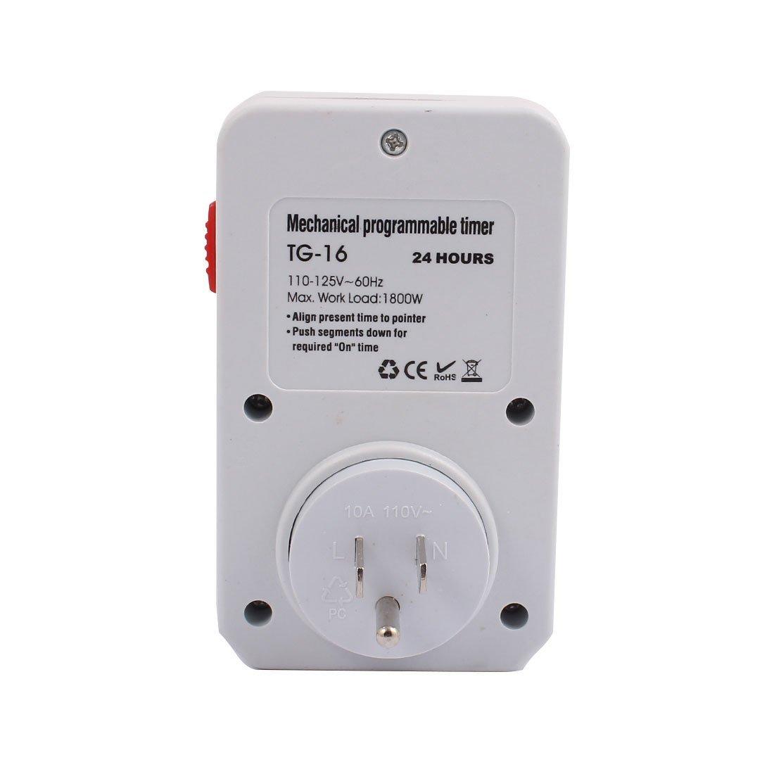 eDealMax 110-125V 1800W US Socket Mechanical Programmable Timer 3 Prong Outlet 24 Hours For Household Appliances