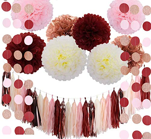 (Super Party 39 Pcs Bachelorette Party Decorations Burgundy Glitter Rose Gold Blush Pink Ivory Tissue Paper Flowers Tassel Garland Wedding Bridal Shower Maroon Party Decorations)