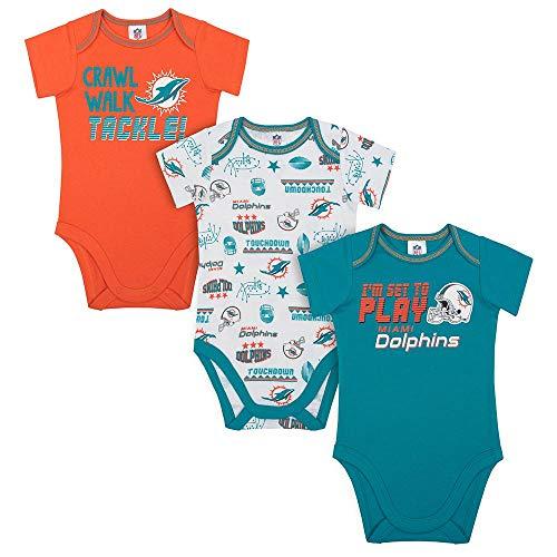 NFL Miami Dolphins Unisex-Baby 3-Pack Short Sleeve Bodysuits, Aqua, 18 Months