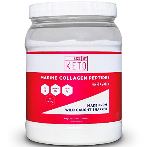 Kiss My Keto Marine Collagen Powder - 16 oz Wild Caught Pacific Snapper Fish, Complete Hydrolyzed Collagen Supplement Type 1 and Type 3, Unflavored, Mixes Easily In Hot and Cold Liquids