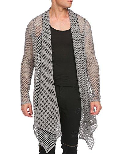 Blend Long Cardigan - Jinidu Men's Ruffle Shawl Collar Cardigan Lightweight Cotton Blend Long Length Sleeveless Cape Vest (Medium, Grey(Long Sleeve Net))