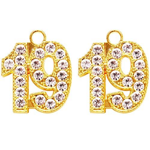 Mayam 2 Pieces 19 Year Charm Graduation Charm Pendants for Graduation Tassel and DIY Crafts (Gold)