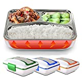 LUCKSTAR Electric Heating Lunch Box - Portable Removable 3-Compartment Stainless Steel Container Car