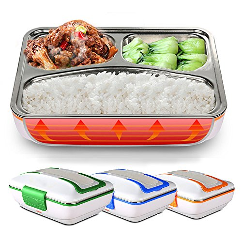 LUCKSTAR Electric Heating Lunch Box - Portable Removable 3-Compartment Stainless Steel Container Car Use Bento Meal Warming Container (Blue)