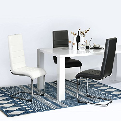 FurnitureR Dining Chairs Set of 2 Luxury Elegant PU High Back and Chrome Legs Lounge Chairs Dining Side Seats for Kitchen Dining Room White