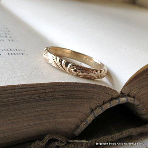 Handmade 14kt Gold Wedding Ring Swirl Pattern Wedding Band or Stacking Ring, Unique Wedding Band, Boho Wedding Ring, Yellow Gold, White Gold, Stackable Ring