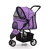 Waterproof Pet Foldable Stroller Dog Cat Dog 3 Wheel Walk Jogger Travel Trolley Purple