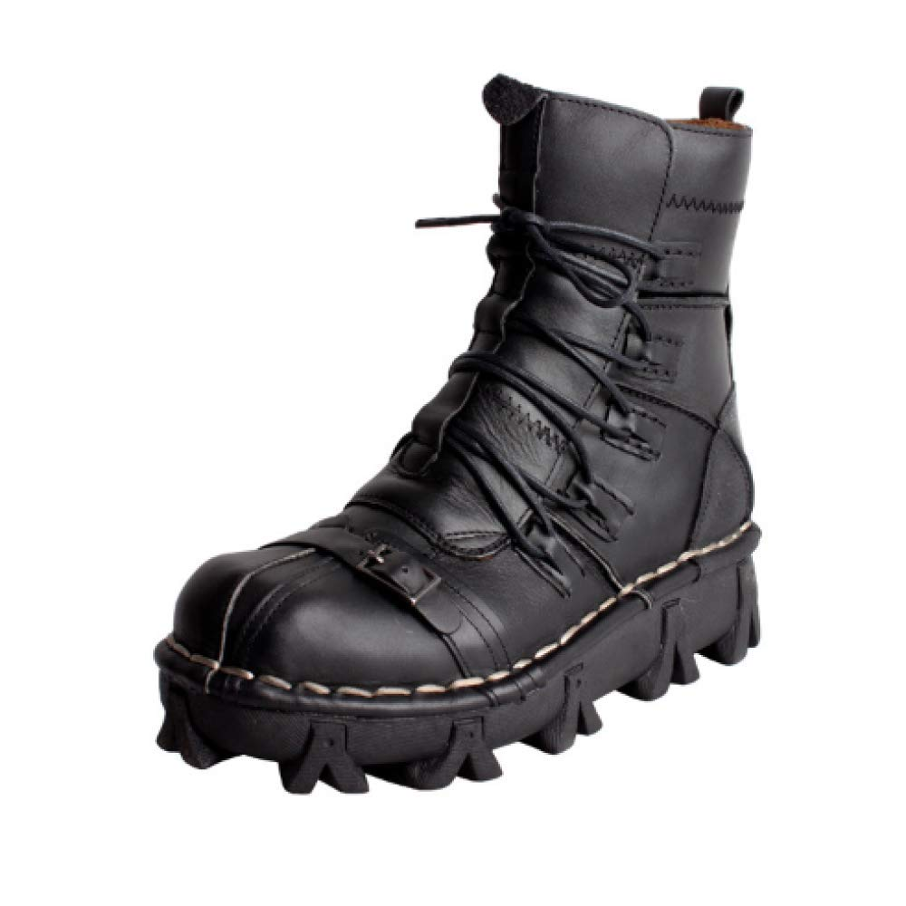 XINGF Herren Schwarze Schnürschuhe, Runde Stiefel, Wüstenstiefel, Cowboystiefel, High-Top-Schuhe, Martinstiefel B07K2CGSR8  | Guter weltweiter Ruf