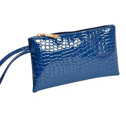Women Bowknot Long Purse Button Wallet Clutch Hand Bag (Dark Blue) - 9