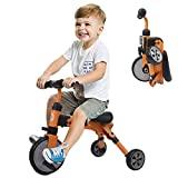 XJD Toddler Tricycles 2 In 1 Baby Trike Balance Bike Foldable Lightweight Kids Riding Toys for Ages 18 Months Old And up Boys Girls (Orange)