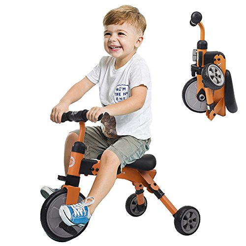 Image of the XJD Toddler Tricycles 2 In 1 Baby Trike Balance Bike Foldable Lightweight Kids Riding Toys for Ages 18 Months Old And up Boys Girls (Orange)