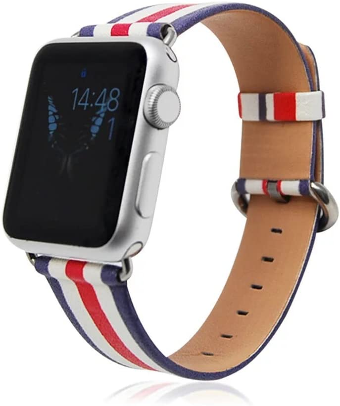 Compatible Apple Watch Bands,Genuine Leather Strap Wristband with Silver Adapters for Apple Watch/Sport/iWatch Replacement Band with Metal Clasp in Edition Colorful Girly Design 42mm[Red Stripe]