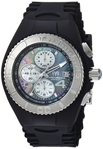 Technomarine Men's 'Cruise' Quartz Stainless Steel and Silicone Casual Watch, Color:Black (Model: TM-115349) (New Chronograph Technomarine Stainless Steel)