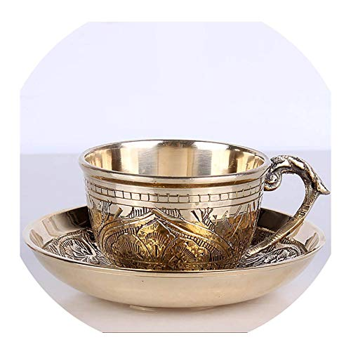 FAT BIG CAT India Coffee Cups Saucer Sets Handmade Engraving Brass Coffee Cup Arabic Indian Copper Tea Cup with Pad Kitchen Gadget Drinkware,as Show
