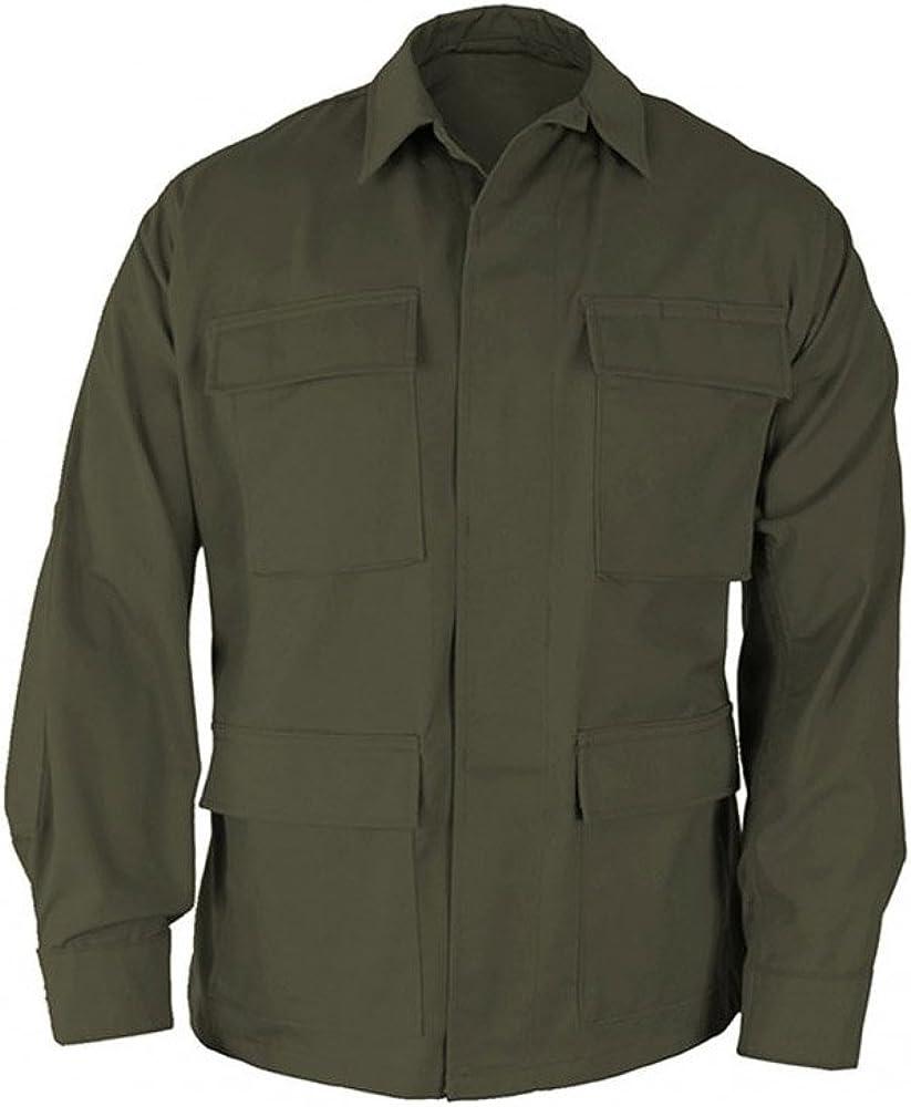 Propper Uniform BDU Coat Regular Length 60//40 Cotton//Polyester Ripstop Olive LR