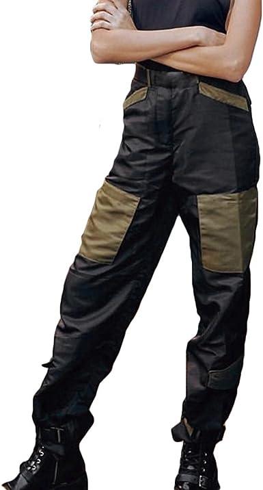 hibote Pantalones Cargo Mujer Pantalones Sueltos Patchwork ...