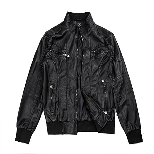 Mens Lamb Jacket (Kenguru Cove Leather Men's Sword Black Genuine Lambskin Leather Biker Jacket(Black,5XL))