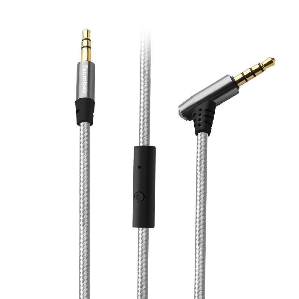 Audio Cable, Tsumbay Aux Cable 3.5mm Right Angle Tangle-Free UX Cable Cord with in-line Remote and Mic Male to Male Cable Premium Nylon Auxiliary Cord Headphones for PS4, iPhones, Smartphones, iPads, Home / Car Stereos, Speakers (3ft/1m) 606814883220
