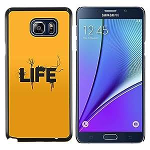 KLONGSHOP // Cubierta de piel con cierre a presión Shell trasero duro de goma Protección Caso - Tipografía Vida - Samsung Galaxy Note 5 5th N9200 //