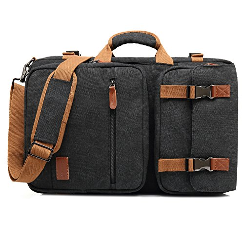 CoolBELL Convertible Briefcase Backpack Messenger Bag Shoulder Bag Laptop Case Business Briefcase Travel Rucksack Multi-Functional Handbag Fits 17.3 Inch Laptop for Men/Women (Canvas Black)