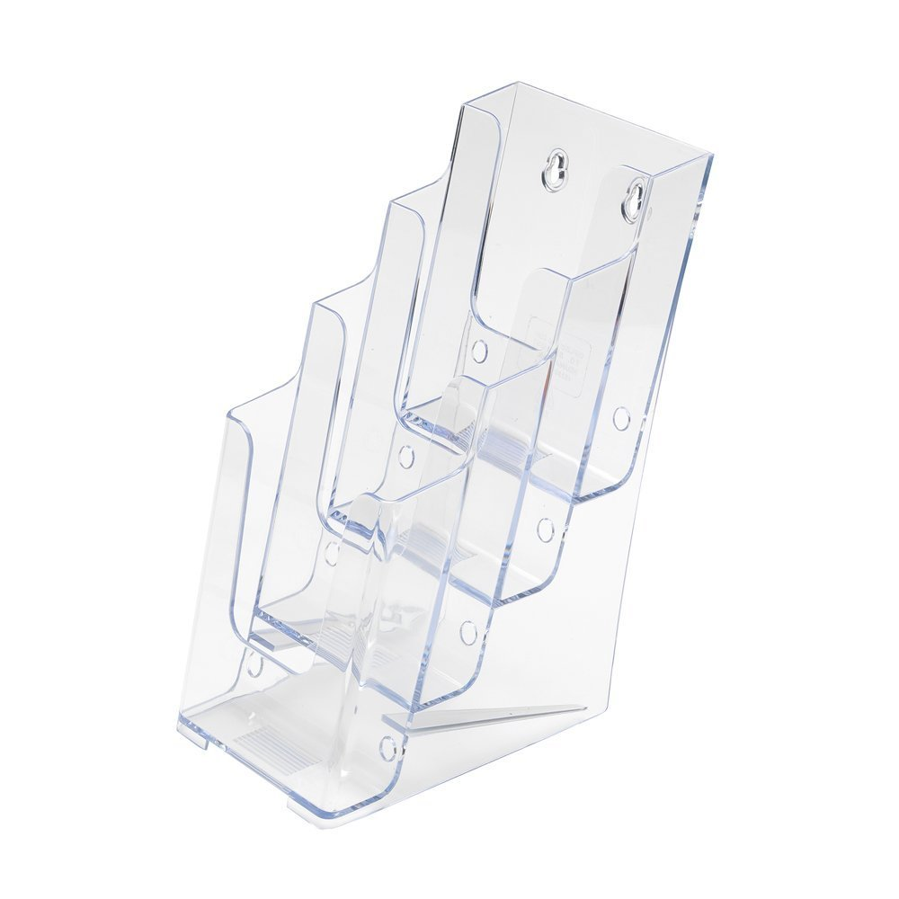 SourceOne Brochures Holder for 4'' Trifold Booklets - 4-Tier - Clear Acrylic Countertop Organizer by Sourceone