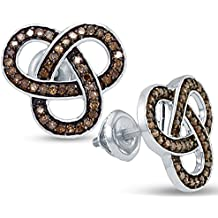 925 Sterling Silver Cross over Shape Studs Channel Set Chocolate Brown Diamond Earrings (1/2 cttw.)