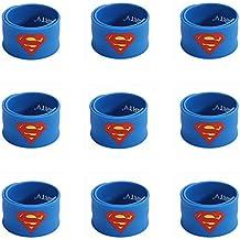 Ecparty Superhero Slap Bracelet for Kids Boys & Girls Birthday Party Supplies Favors (9 pack) (Super-Man)