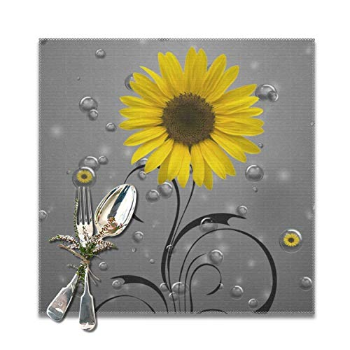 SRuhqu Heat Resistant Placemats Set Of 6 - Sunflower Bubbles Yellow Gray Kitchen Placemats For Dining Table 12x12 Inches ()