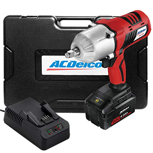 "ACDelco Cordless Li-ion 20V 1,260 FT-LBS NUT BUSTING Torque 1/2"" Impact Wrench Kit - 4.0Ah Battery, Fast Charger, and Carrying Case, P20 Series ARI20170"