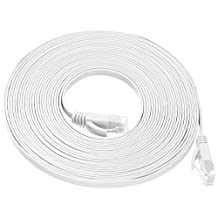 Fosmon High Speed Cat6 RJ45 FLAT TANGLE FREE Snagless Network Cable - Patch - Ethernet / Moderm / Router / LAN / Printer / MAC / Laptop / PS2 & PS3 / XBox & XBox 360 - Fosmon Retail Packaging - White - 25ft