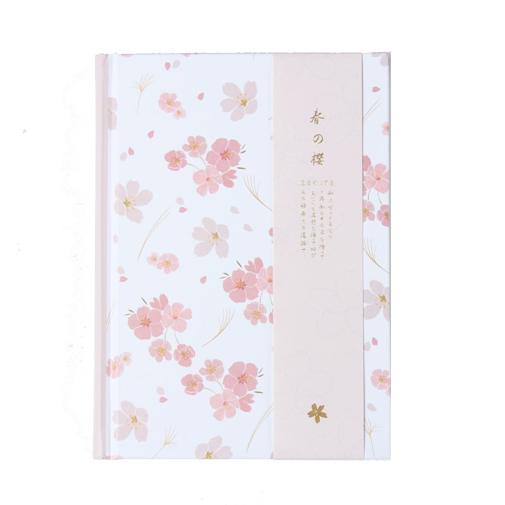 yuiemu New cute cartoon Cherry blossoms series school student diary notebook stationery,candy hardcover person agenda planner organizer (white)