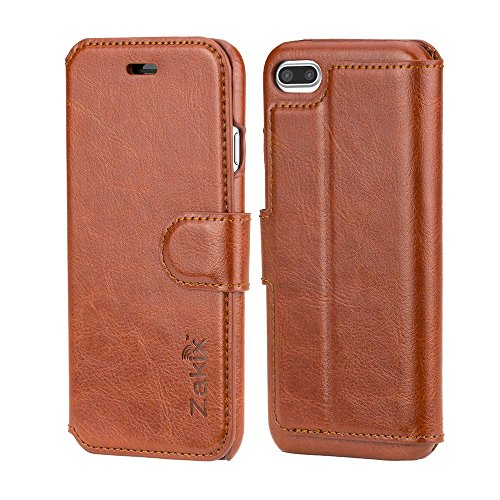 Zakix(TM) Leather Wallet Case For iPhone 7: Premium PU Leather Protective Case - Adequate Protection From Impacts With Ergonomic Design (BROWN)