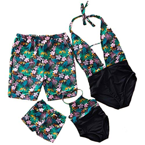 Family Matching Swimwear One Pieces Bikini Set Printed Ruffles Mommy and Me Bathing Suits Summer Beach Swimsuit -