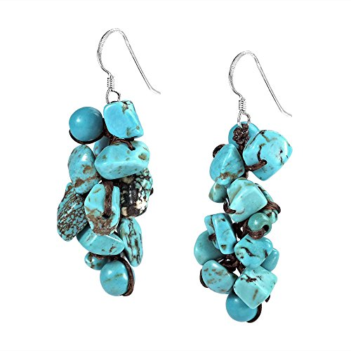 Cluster Simulated Turquoise Drop Sterling Silver Dangle Earrings by AeraVida (Image #1)