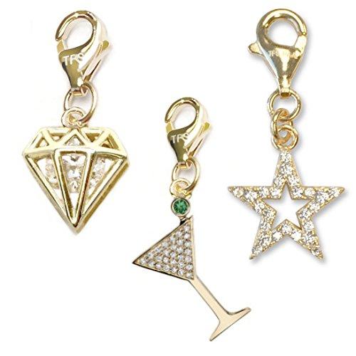 TFS Jewelry Martini Glass, Diamond CZ, Star Outline CZ 14k Gold Over Brass Clip-On Charm Set
