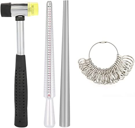 4pcs//Set Ring Enlarger Stick Mandrel Handle Hammers Ring Sizer Finger Measuring
