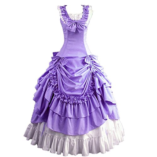 Loli Miss Womens Sleeveless Bowknot Gothic Lolita Dress Floor Length Ball Gown XS Purple