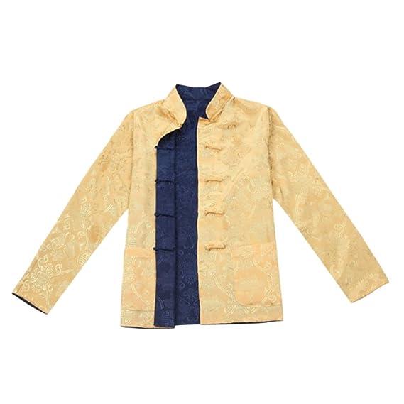 a4738560e15a Meijunter Homme Réversible des Deux côtés Manteau Veste Costume Tang Chinois  Traditionnel Manche Longue Arts Martiaux Kung FU Chemise  Amazon.fr   Vêtements ...