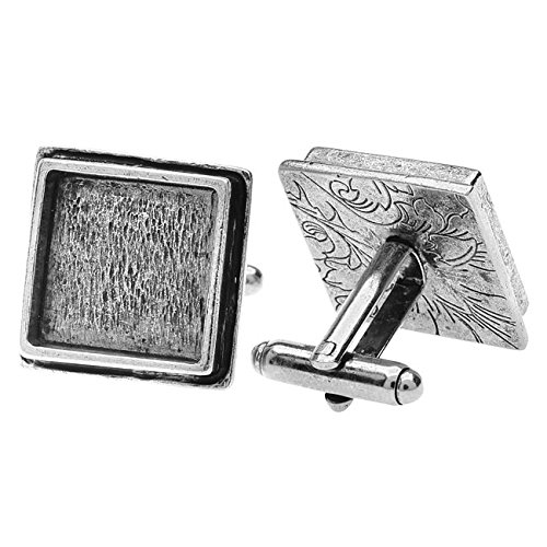 Nunn Design Cuff Links, 16mm Square Bezel, 1 Pair, Antiqued Silver (Square Cufflinks Pair)