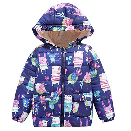 Winter Kids Coat,Fineser Toddler Kids Baby Girl Boy Cartoon Print Hooded Coat Cloak Jacket Thick Warm Outerwear Clothes (Navy, 24 Months(L)) ()