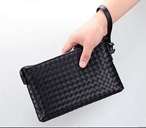 H Clutch Organizer Leather Wallet Bag 13 Braided amp;w Black grain Mens Full 13 Y8UYqFr