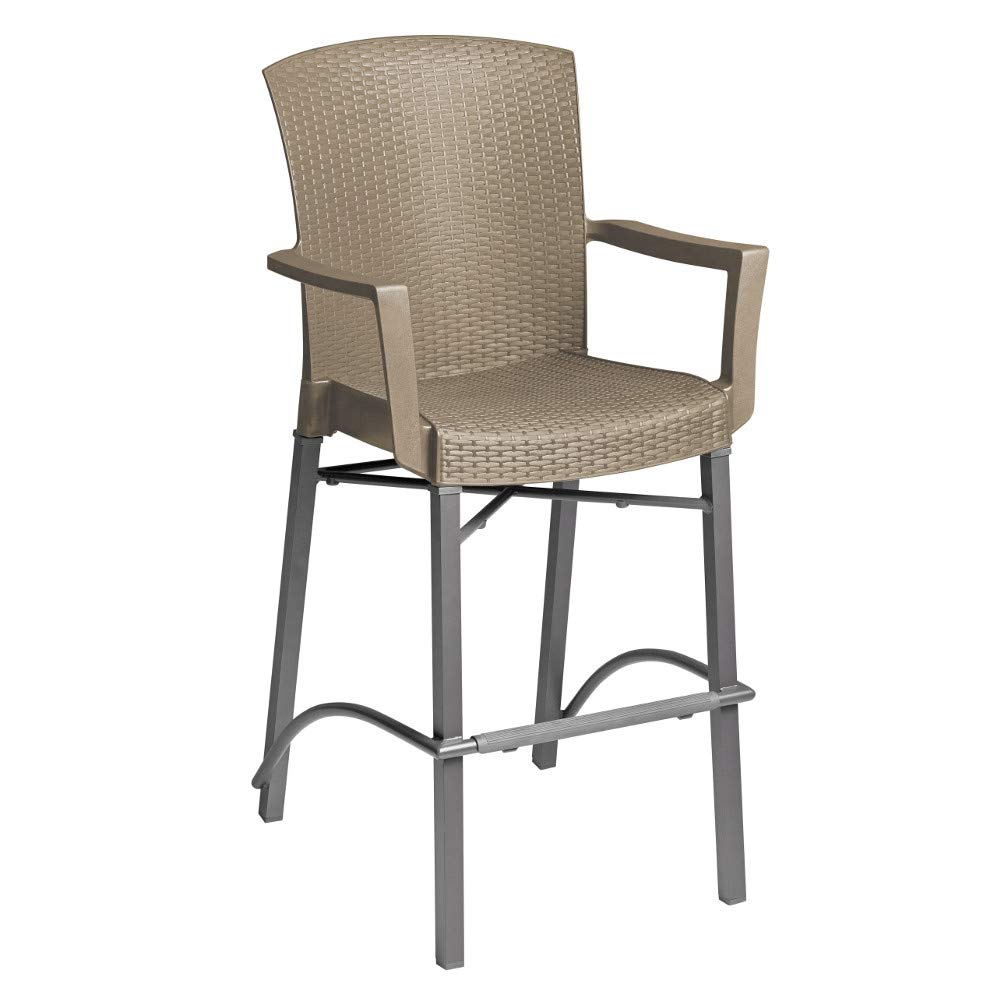 Grosfillex US254181 Havana Classic Barstool with Arms, Aluminum Base & Taupe Color by Grosfillex (Image #1)