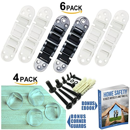 Furniture Wall Straps and Dresser Anchor   Earthquake Furniture Straps & Baby Proofing Anti Tip Kit   Bookshelf Anchor TV Straps Child Safety   6 pack 4 White 2 Black   Bonus 4 Corner Guard and ebook