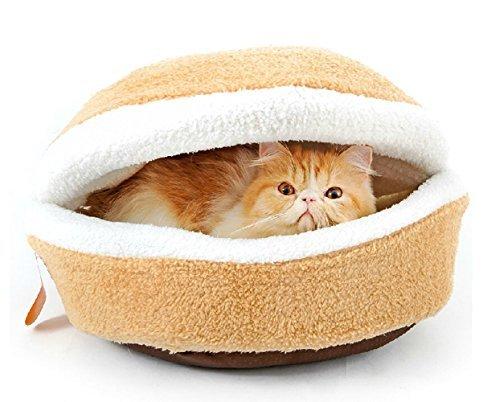 Bettli Hamburger Design Washable Pet Bed Soft Dog House Cotton Cat Sleeping Bag(size (Cotton Pet Beds)