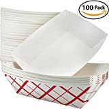 hot dog plates - Heavy Duty, Grease Resistant 3 Lb Paper Food Trays 100 Pack. Durable, Coated Paperboard Basket Ideal for Festival, Carnival and Concession Stand Treats Like Hot Dogs, Ice Cream, Popcorn and Nachos.