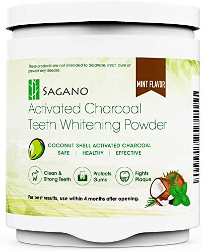 Sagano Teeth Whitening Activated Charcoal Powder by 100% Natural Teeth Whitener from Coconut Shell and Mint Flavor Food Grade Formula - for Sensitive Tooth and Healthy Whitener (4-8 Supply)