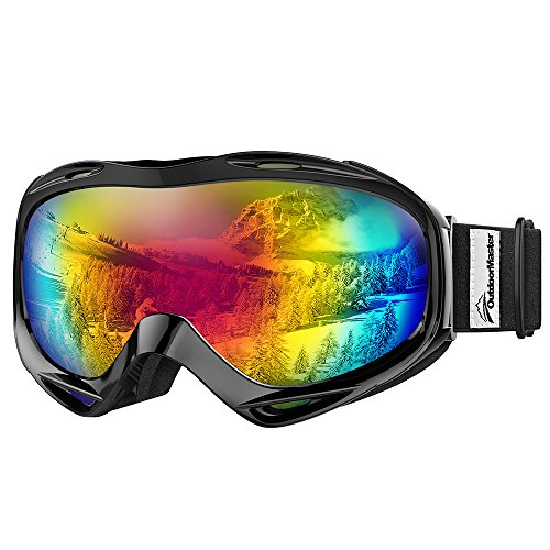 OutdoorMaster OTG Ski Goggles - Over Glasses Ski/Snowboard Goggles for Men, Women & Youth - 100% UV Protection (Black Frame + VLT 15.8% Grey Lens with REVO Red)